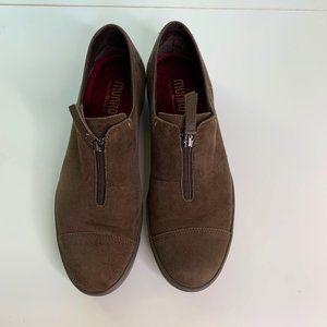 Munro Roslyn Brown Suede Zip Slip On Sneaker